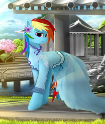 Size: 1350x1600 | Tagged: safe, artist:ssnerdy, rainbow dash, pegasus, pony, bridge, cherry blossoms, chinese, clothes, cute, dashabetes, dress, eyeshadow, female, flower, flower blossom, japan, japanese, looking at you, makeup, mare, rainbow dash always dresses in style, river, shrine, solo