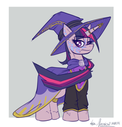 Size: 1108x1154 | Tagged: safe, artist:bylisboa, twilight sparkle, pony, unicorn, equestria divided, cloak, clothes, hat, house moon and star, tattoo, unicorn twilight