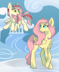Size: 593x724 | Tagged: safe, artist:butteredpawpcorn, fluttershy, oc, oc:skyler, pegasus, pony, chest fluff, cloudsdale, duo, female, filly, fluffy, mare, mother and child, mother and daughter, offspring, parent:fluttershy, parent:soarin', parents:soarinshy