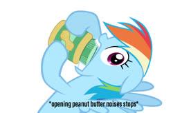 Size: 800x524 | Tagged: safe, rainbow dash, pegasus, pony, descriptive noise, female, food, joke, mare, meme, peanut butter, simple background, white background