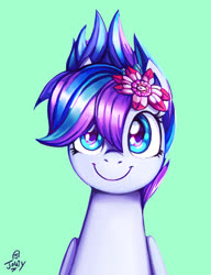 Size: 954x1243 | Tagged: safe, artist:jowybean, oc, pegasus, pony, flower, flower in hair, solo