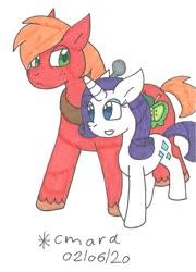 Size: 876x1219 | Tagged: safe, artist:cmara, big macintosh, rarity, earth pony, pony, unicorn, female, male, mare, rarimac, shipping, stallion, straight