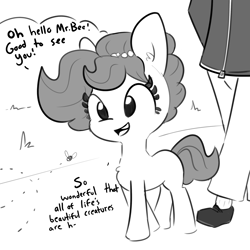Size: 2250x2250 | Tagged: safe, artist:tjpones, oc, oc only, oc:brownie bun, oc:richard, bee, earth pony, human, insect, pony, chest fluff, female, grayscale, male, mare, monochrome, part of a set, simple background, white background