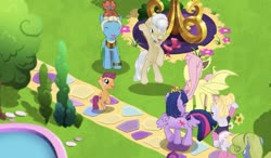 Size: 1361x793 | Tagged: safe, fluttershy, forsythia, hoofer steps, mayor mare, meadowbrook, scootaloo, twilight sparkle, alicorn, bat pony, earth pony, pegasus, pony, unicorn, bat ponified, bush, crown, flower, flutterbat, game screencap, gameloft, jewelry, pond, race swap, regalia, tree, twilight sparkle (alicorn), waving