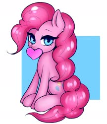 Size: 1854x2147 | Tagged: safe, artist:yutakira92, pinkie pie, earth pony, pony, abstract background, cute, diapinkes, female, heart, heart eyes, looking at you, mare, mouth hold, sitting, solo, wingding eyes