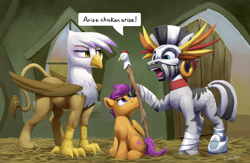 Size: 4938x3220 | Tagged: safe, artist:tsitra360, gilda, scootaloo, zecora, griffon, pegasus, pony, zebra, aqua teen hunger force, billywitchdoctor.com, commission, female, filly, high res, mask, scootachicken, scootaloo is not amused, sitting, staff, unamused