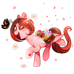 Size: 800x800 | Tagged: safe, artist:ipun, oc, oc:weathervane, butterfly, pegasus, pony, bag, deviantart watermark, female, flower, mare, obtrusive watermark, saddle bag, simple background, transparent background, watermark