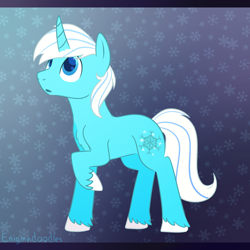 Size: 900x900 | Tagged: safe, artist:enigmadoodles, oc, oc:frost, pony, unicorn, male, solo, stallion