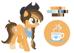 Size: 636x458 | Tagged: safe, artist:zafara1222, oc, oc only, oc:clementine, earth pony, base used, female, hat, mare, offspring, parent:applejack, parent:oc:deadeye, parents:canon x oc, reference sheet, simple background, solo, transparent background