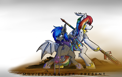 Size: 2125x1343 | Tagged: safe, artist:movieskywalker, derpibooru exclusive, oc, oc only, oc:pegasus dragon, oc:west wind, bat pony, dracony, dragon, hybrid, pony, armor, back to back, bat pony oc, blood, claws, couple, dirt, duo, hoof shoes, multicolored hair, rainbow hair, royal guard, shadow fight 3, simple background, spear, weapon, white background