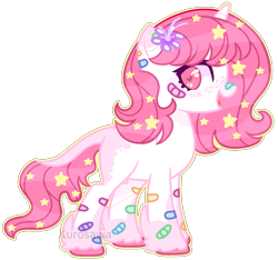 Size: 1745x1635 | Tagged: safe, artist:kurosawakuro, oc, pony, unicorn, bandaid, base used, female, flower, flower in hair, freckles, heart eyes, leonine tail, mare, simple background, solo, transparent background, unshorn fetlocks, wingding eyes