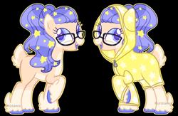 Size: 3396x2208 | Tagged: safe, artist:kurosawakuro, oc, earth pony, pony, base used, deer tail, fangs, female, glasses, mare, outline, raincoat, simple background, solo, transparent background, unshorn fetlocks