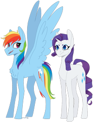 Size: 1074x1395 | Tagged: safe, artist:sychia, rainbow dash, rarity, pegasus, pony, unicorn, chest fluff, duo, female, mare, simple background, transparent background, wings