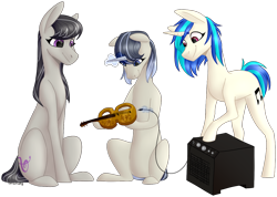 Size: 1280x909 | Tagged: safe, artist:sychia, dj pon-3, octavia melody, vinyl scratch, oc, earth pony, pony, unicorn, commission, female, lesbian, levitation, magic, magical lesbian spawn, mare, musical instrument, offspring, parent:octavia melody, parent:vinyl scratch, parents:scratchtavia, raised hoof, scratchtavia, shipping, simple background, sitting, speakers, telekinesis, transparent background, violin