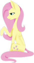 Size: 1317x2397 | Tagged: safe, artist:sychia, fluttershy, pegasus, pony, female, mare, raised hoof, simple background, sitting, solo, transparent background