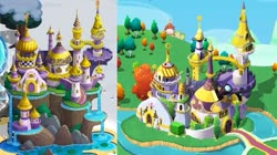 Size: 525x294 | Tagged: safe, canterlot, canterlot castle, comparison, gameloft