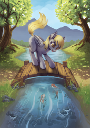 Size: 2471x3500 | Tagged: safe, artist:taytinabelle, derpy hooves, fish, koi, pegasus, pony, bridge, cute, derpabetes, digital art, ear fluff, female, fluffy, grass, happy, looking down, mare, nature, open mouth, river, smiling, solo, tree