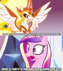 Size: 1280x1440 | Tagged: safe, artist:jaredking203, edit, edited screencap, screencap, daybreaker, princess cadance, alicorn, pony, a royal problem, the times they are a changeling, broly, caption, dragon ball z, female, image macro, mare, meme, nappa, reaction, shocked, text