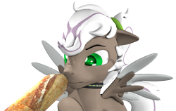 Size: 3536x2233   Tagged: safe, artist:thevioletghost, oc, oc only, pegasus, 3d, bread, collar, cute, food, male, simple background, solo, source filmmaker, transparent background