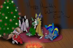 Size: 1280x853 | Tagged: safe, artist:ask-peppermint-pattie, comet tail, oc, oc:fallen, oc:peppermint pattie (unicorn), oc:superdavid, oc:sweet cream, earth pony, pegasus, pony, unicorn, ask peppermint pattie, christmas, christmas tree, clothes, female, fire, holiday, male, mare, prone, stallion, sweater, tree