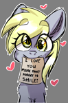 Size: 1000x1512 | Tagged: safe, artist:cottonsweets, derpy hooves, pegasus, pony, blushing, bronybait, chest fluff, cute, derp, derpabetes, eye clipping through hair, female, halfbody, heart, mare, mouth hold, note, outline, positive ponies, simple background, smiling, solo
