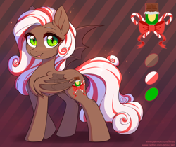 Size: 3000x2520 | Tagged: safe, artist:fensu-san, oc, oc only, bat pony, bat pony oc, christmas, cute, cutie mark, fangs, folded wings, freckles, green eyes, grin, holiday, looking at you, ocbetes, open mouth, reference sheet, smiling, smiling at you, solo, wings