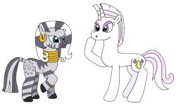 Size: 2958x1780 | Tagged: safe, artist:supahdonarudo, fleur-de-lis, zecora, unicorn, zebra, alternate hairstyle, ear piercing, earring, jewelry, mane swap, necklace, piercing, raised hoof, simple background, transparent background
