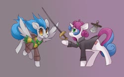 Size: 1280x800 | Tagged: safe, artist:starlightspark, oc, oc:blue bolt, oc:sweet symphony, clothes, coat, rapier, scarf, sword, weapon