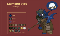 Size: 3000x1832 | Tagged: safe, artist:n0kkun, oc, oc only, oc:diamond eyes (ice1517), bat pony, pony, army, bag, bat pony oc, belt, boots, boys anti tank rifle, clothes, goggles, gun, male, mask, pants, pouch, raised hoof, red background, reference sheet, rifle, saddle bag, shirt, shoes, simple background, solo, stallion, trenchcoat, weapon, world war ii