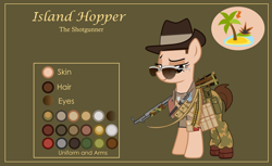 Size: 3000x1832 | Tagged: safe, artist:n0kkun, oc, oc only, oc:island hopper, earth pony, pony, bandolier, bedroom eyes, belt, boots, bullet, camouflage, clothes, dog tags, female, green background, gun, hat, knife, mare, pants, pouch, reference sheet, scarf, shirt, shoes, shotgun, simple background, slouch hat, solo, sunglasses, t-shirt, weapon, world war ii