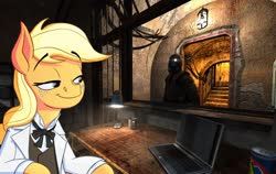 Size: 1556x982 | Tagged: safe, artist:anontheanon, edit, applejack, earth pony, human, pony, applejack's plantation, basement, bunker, computer, energy drink, lamp, laptop computer, s.t.a.l.k.e.r., sidorovich, table, video game