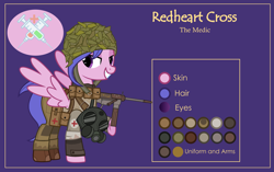 Size: 3001x1881 | Tagged: safe, artist:n0kkun, oc, oc only, oc:redheart cross, pegasus, pony, armor, bandage, bedroom eyes, boots, clothes, combat armor, combat medic, female, gas mask, gloves, gun, helmet, m3 grease gun, mare, mask, pants, pouch, purple background, red cross, reference sheet, shirt, shoes, simple background, smg, solo, submachinegun, weapon, world war ii
