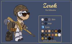 Size: 3000x1832 | Tagged: safe, artist:n0kkun, oc, oc only, oc:zerok, zebra, bandana, bandolier, belt, blue background, boots, bullet, clothes, flashlight (object), gun, helmet, m1 garand, male, pants, pouch, reference sheet, rifle, shirt, shoes, simple background, solo, sunglasses, vest, weapon, world war ii, zebra oc
