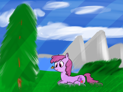 Size: 2250x1688 | Tagged: safe, artist:twistcable, berry punch, berryshine, butterfly, earth pony, pony, almost made on paint, cute, outdoors, shitty background