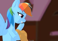 Size: 3508x2480   Tagged: safe, artist:twistcable, rainbow dash, pegasus, pony, applejack's hat, barn, cowboy hat, hat, solo