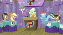 Size: 1920x1080 | Tagged: safe, screencap, applejack, doctor whooves, granny smith, matilda, rainbow dash, spike, time turner, a trivial pursuit, spoiler:s09e16