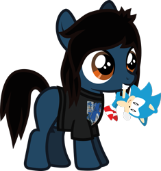 Size: 572x610 | Tagged: safe, artist:lightningbolt, derpibooru exclusive, earth pony, pony, .svg available, blank flank, bring me the horizon, clothes, colt, foal, hair over one eye, happy, male, mouth hold, oliver sykes, plushie, ponified, shirt, simple background, solo, sonic the hedgehog, sonic the hedgehog (series), standing, svg, t-shirt, transparent background, vector, younger