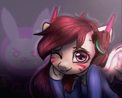 Size: 1280x1024 | Tagged: safe, artist:reterica, pony, dva(overwatch), one eye closed, overwatch, ponified, video game