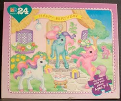 Size: 799x669 | Tagged: safe, ivy, light heart, sundance (g2), banner, birthday party, cake, candle, flower, food, g2, house, ivybetes, lightheartbetes, milton bradley, official, party, present, puzzle, sundawwnce, sweet berry, sweet sweetberry, tree