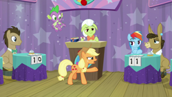 Size: 1920x1080 | Tagged: safe, screencap, applejack, doctor whooves, granny smith, matilda, rainbow dash, spike, time turner, dragon, a trivial pursuit, spoiler:s09e16, bell, winged spike