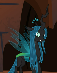 Size: 552x699 | Tagged: safe, screencap, queen chrysalis, the summer sun setback, spoiler:s09e17, cropped, evil grin, grin, smiling, solo