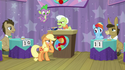 Size: 1920x1080 | Tagged: safe, screencap, applejack, doctor whooves, granny smith, matilda, rainbow dash, spike, time turner, dragon, a trivial pursuit, spoiler:s09e16, bell, blushing, winged spike