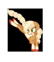 Size: 1026x1190 | Tagged: safe, artist:andromedasparkz, applejack, earth pony, pony, leak, spoiler:g5, applejack (g5), coat markings, female, g5, hooves, mare, redesign, simple background, solo, transparent background
