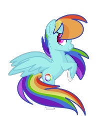 Size: 978x1139 | Tagged: safe, artist:andromedasparkz, rainbow dash, pegasus, pony, leak, spoiler:g5, female, g5, hooves, mare, rainbow dash (g5), rearing, redesign, simple background, smiling, smirk, solo, spread wings, transparent background, wings
