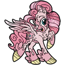 Size: 900x900 | Tagged: safe, artist:santamouse23, pinkie pie, pegasus, pony, leak, spoiler:g5, female, g5, happy, hooves, mare, one eye closed, pegasus pinkie pie, pinkie pie (g5), race swap, raised hoof, redesign, simple background, smiling, solo, spread wings, transparent background, wings