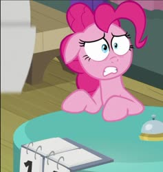 Size: 585x617 | Tagged: safe, screencap, pinkie pie, earth pony, a trivial pursuit, spoiler:s09e16, cropped, shocked expression, solo