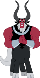 Size: 1766x3396 | Tagged: safe, artist:tourniquetmuffin, lord tirek, centaur, antagonist, beard, cloven hooves, evil grin, facial hair, grin, horns, looking at you, muscles, nose piercing, nose ring, piercing, shackles, simple background, smiling, solo, transparent background, vector, wringing hands, yellow eyes