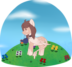 Size: 1280x1198   Tagged: safe, artist:okimichan, oc, oc:mun, pegasus, pony, chibi, female, flower, mare, mouth hold, solo, watering can
