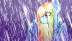 Size: 1280x732 | Tagged: safe, artist:a-vomikaa, rainbow dash, pegasus, pony, female, mare, rain, sad, solo, spread wings, wings