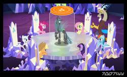 Size: 1288x782   Tagged: safe, edit, edited screencap, editor:teren rogriss, screencap, applejack, discord, fluttershy, pinkie pie, queen chrysalis, rainbow dash, rarity, twilight sparkle, alicorn, changeling, changeling queen, earth pony, pegasus, pony, unicorn, comic, female, friendship throne, hooves, horn, jar, mane six, mare, screencap comic, throne room, twilight sparkle (alicorn), twilight's castle, wings